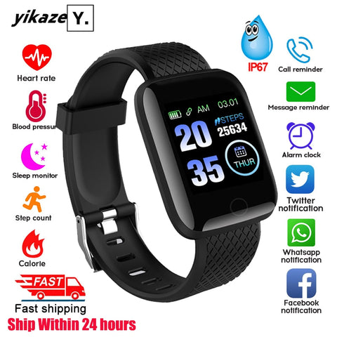 116 plus Smart Watch Men Women Blood Pressure Monitor Waterproof Fitness Tracker Bracelet Heart Rate Smartwatch For Android IOS