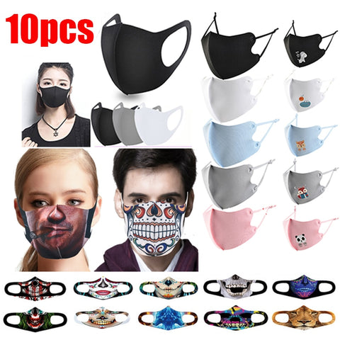 10pcs Mascarilla Face Mask Reusable Masque Halloween Mask Mondkapjes Adult Child Mask Cloth