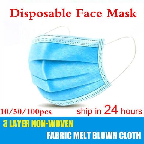 10pcs/50Pcs/100pcs Mask Disposable Non wove 3 Layer Ply Filter Mask mouth Face mask Breathable Earloops Masks