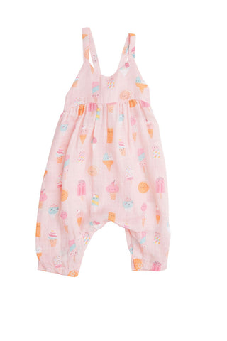 Angel Dear Tie Back Romper - Ice Cream Pink