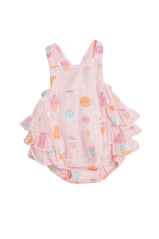 Angel Dear Muslin Ruffle Sunsuit - Ice Cream Pink - Let Them Be Little, A Baby & Children's Clothing Boutique