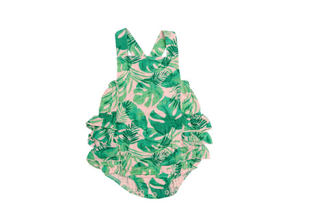 Angel Dear Muslin Ruffle Sunsuit - Tropical Leaves Pink