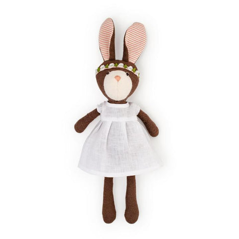 Hazel Village Animal - Zoe Rabbit in Snowy White Linen Dress & Flower Crown