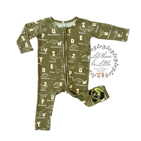 Bellabu Bear Convertible Footie - Dino ABC's - Let Them Be Little, A Baby & Children's Boutique