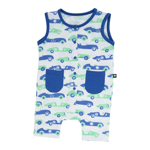 Sweet Bamboo Tank Romper - Vintage Racer Blue/Green - Let Them Be Little, A Baby & Children's Boutique