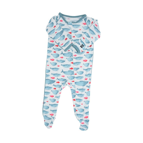 Sweet Bamboo Piped Zipper Footie - Fabulous Fish - Let Them Be Little, A Baby & Children's Boutique