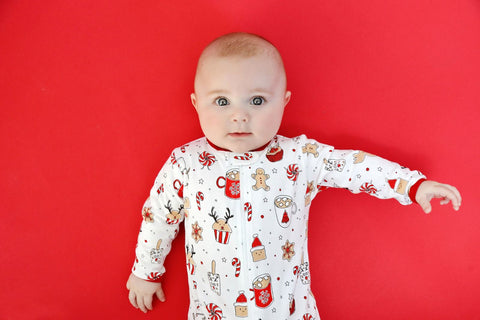 Baby Noomie Zipper Footie - Holiday Treats