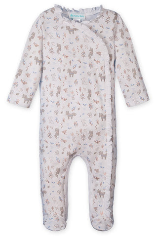 Feather Baby Ruffle Kimono Footie - Foxes & Bunnies on White