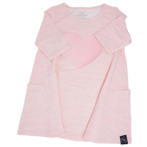 Sweet Bamboo French Terry Dress w/ Heart - Pink Chalk Lines