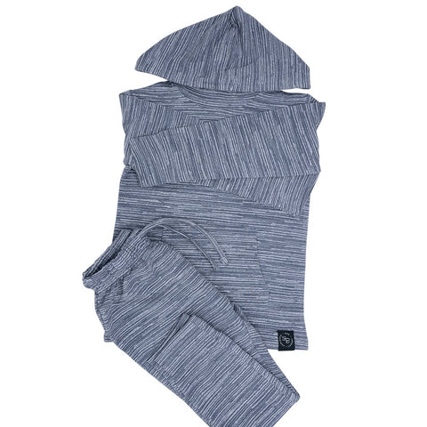Sweet Bamboo Terry Jogger/Hoodie Set - Charcoal Chalk Lines
