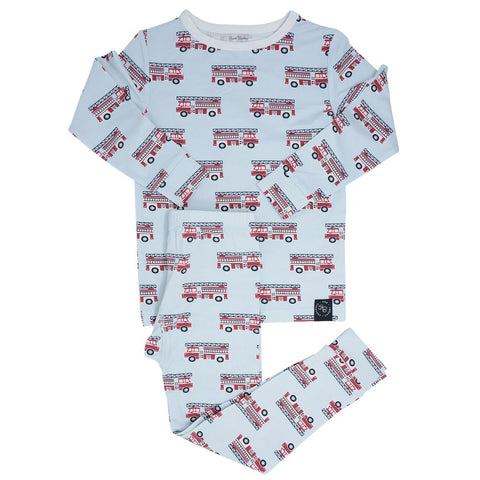Sweet Bamboo Long Sleeve 2 Piece PJ Set - Firetruck - Let Them Be Little, A Baby & Children's Boutique