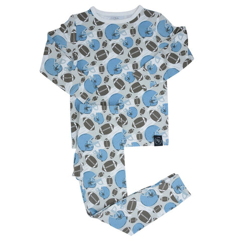 Sweet Bamboo Long Sleeve 2 Piece PJ Set - Football Blue - Let Them Be Little, A Baby & Children's Boutique