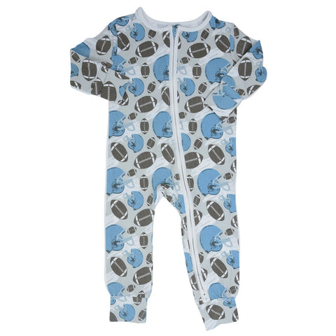 Sweet Bamboo Piped Zipper Romper - Football Blue