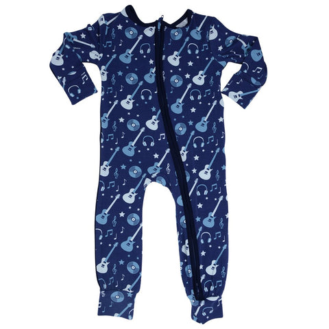 Sweet Bamboo Piped Zipper Romper - Rock-N-Roll - Let Them Be Little, A Baby & Children's Boutique