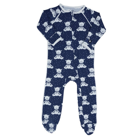 Sweet Bamboo Piped Footie - Bears Navy