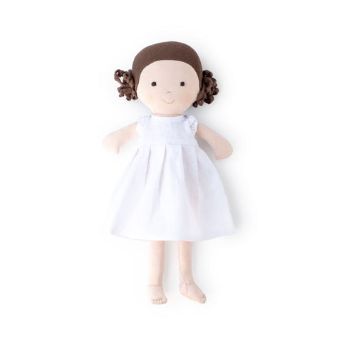 Hazel Village Doll - Louise in Snowy White Linen Dress