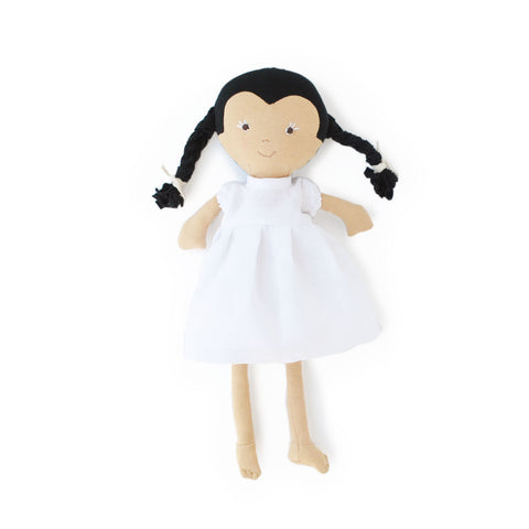Hazel Village Doll - Celia in Snowy White Linen Dress