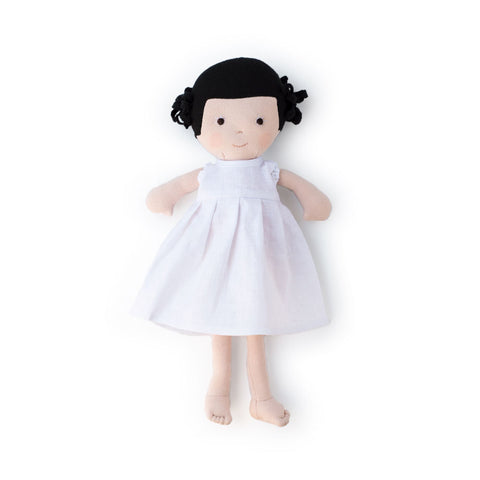 Hazel Village Doll - Nell in Snowy White Linen Dress