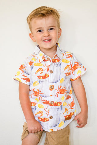 Velvet Fawn Nash Button Down - Eat More Seafood PREORDER