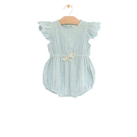 City Mouse Muslin Waist Tie Romper - Sky - Let Them Be Little, A Baby & Children's Boutique