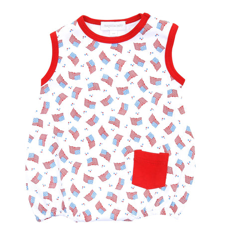 Magnolia Baby Printed Sleeveless Bubble - Vintage Red, White, & Blue - Let Them Be Little, A Baby & Children's Clothing Boutique