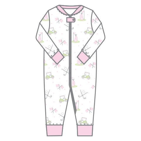 Magnolia Baby Zipped PJ Romper - Putting Around Pink