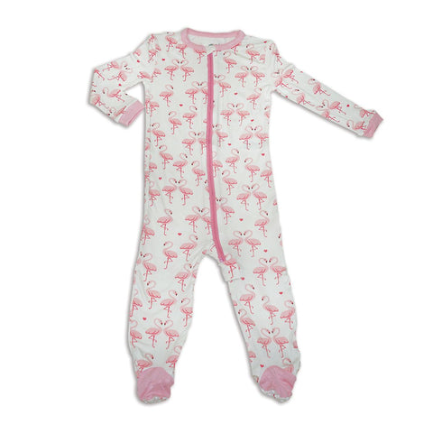 Silkberry Baby Bamboo Zip up Footed Sleeper - Flamingo Love