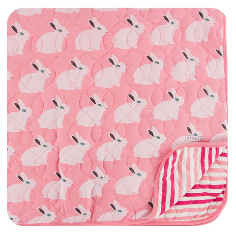 Kickee Pants Print Quilted Toddler Blanket - Strawberry Forest Rabbit/Forest Fruit Stripe