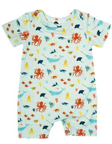 Bird & Bean Short Coverall - Under the Sea - Let Them Be Little, A Baby & Children's Boutique