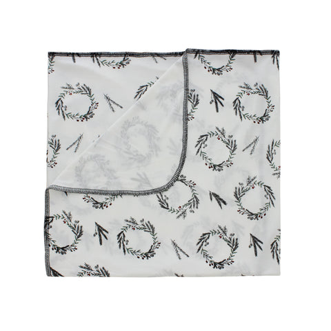 Peregrine Kidswear Bamboo Swaddle Blanket - Winter Wreaths PREORDER - Let Them Be Little, A Baby & Children's Boutique