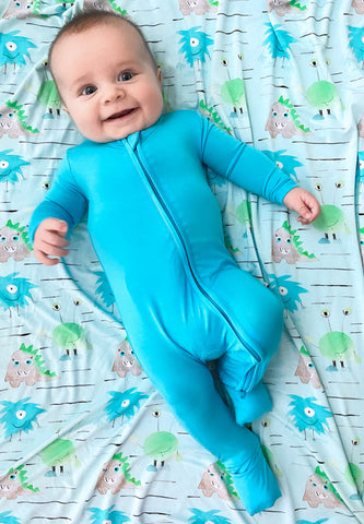 Birdie Bean Zip Romper w/ Convertible Foot - Aquarius