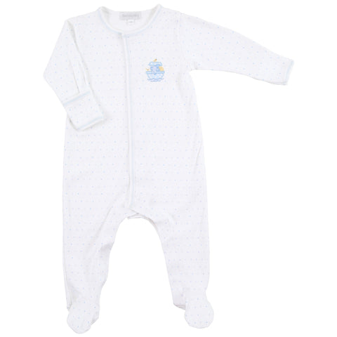Magnolia Baby Essentials Footie - Noah's Friends Embroidered Blue
