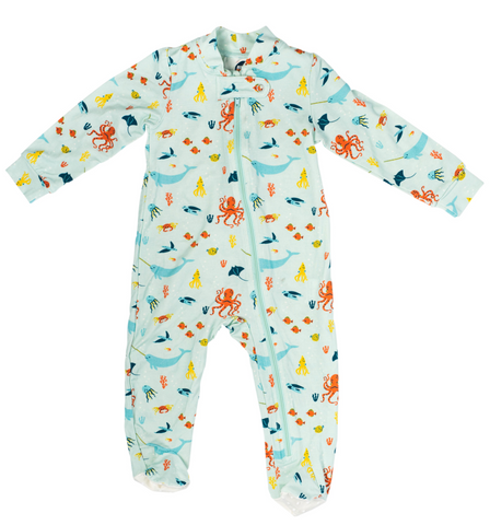 Bird & Bean Zipper Footie - Under the Sea - Let Them Be Little, A Baby & Children's Boutique