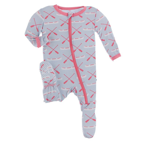 Kickee Pants Print Footie with Zipper - Dew Paddles and Canoe