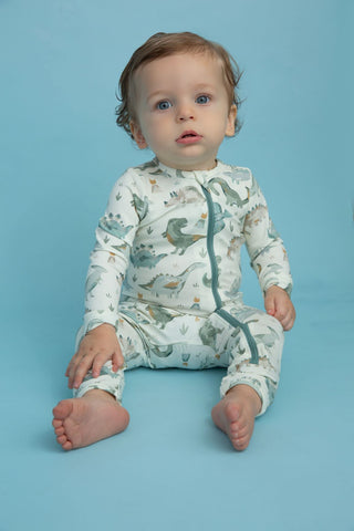 Angel Dear Zip Romper - Crayon Dinos