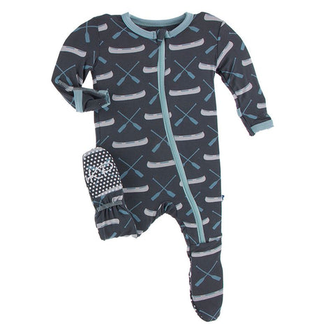 Kickee Pants Print Footie with Zipper - Stone Paddles and Canoe