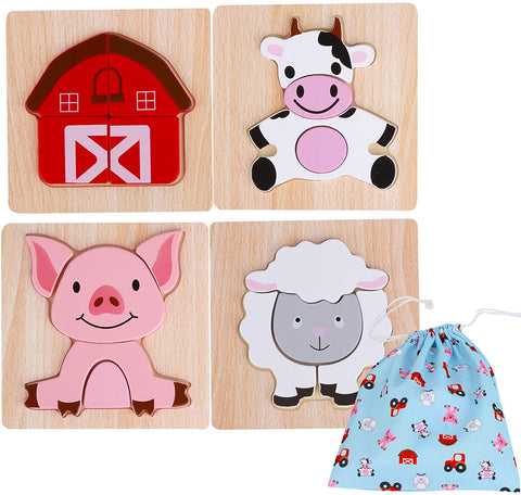 Asher & Olivia Wooden Jigsaw Puzzle - Farm Wooden Animals Set