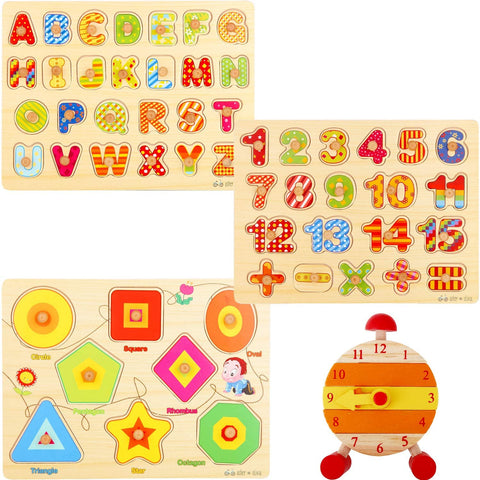 Asher & Olivia Wooden Jigsaw Puzzle - Numbers, Shapes, Letters w/ Learning Clock