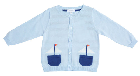 Angel Dear Knit Cardigan - Nautical Boats - Let Them Be Little, A Baby & Children's Boutique