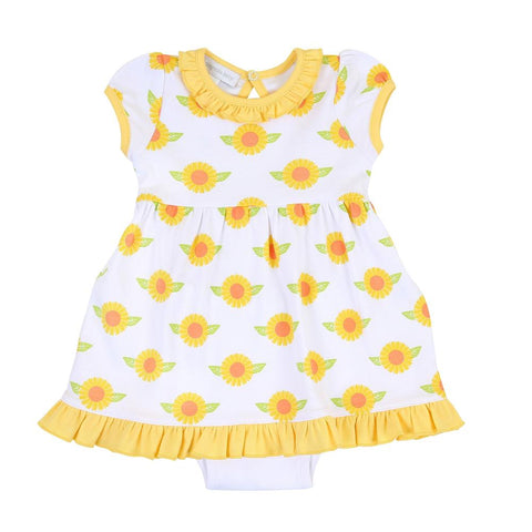 Magnolia Baby Printed Short Sleeve Dress Set - Sunflower