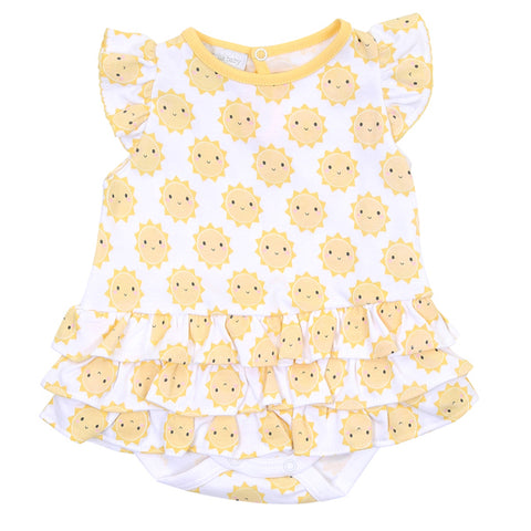 Magnolia Baby Printed Ruffle Bubble - Sunshine - Let Them Be Little, A Baby & Children's Boutique