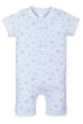 Feather Baby Henley Romper - Sea Turtles on Baby Blue