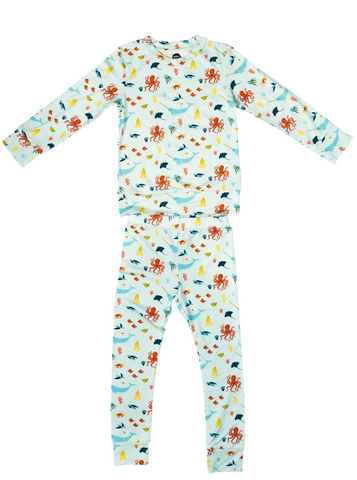 Bird & Bean 2 Piece Pj Set - Under the Sea - Let Them Be Little, A Baby & Children's Boutique