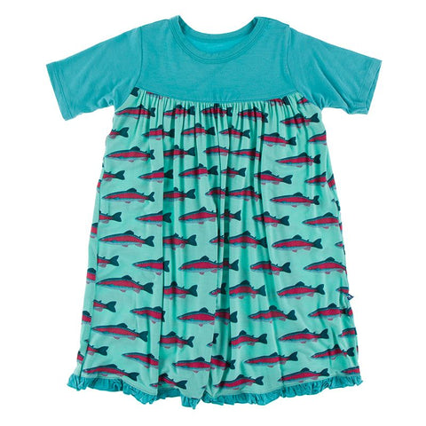 Kickee Pants Print Classic Short Sleeve Swing Dress - Glass Rainbow Trout - Let Them Be Little, A Baby & Children's Boutique