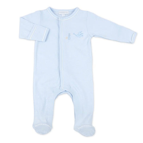 Magnolia Baby Essentials Embroidered Footie - Worth the Wait Blue