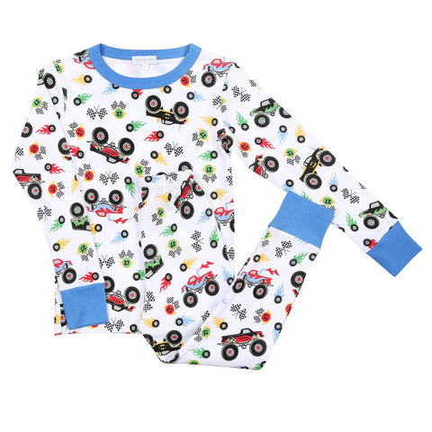 Magnolia Baby Long Sleeve PJ Set - Monster Trucks