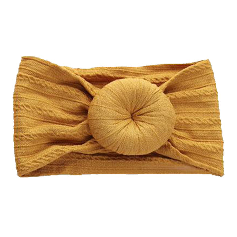 Emerson & Friends Cable Knit Bun Headband - Mustard