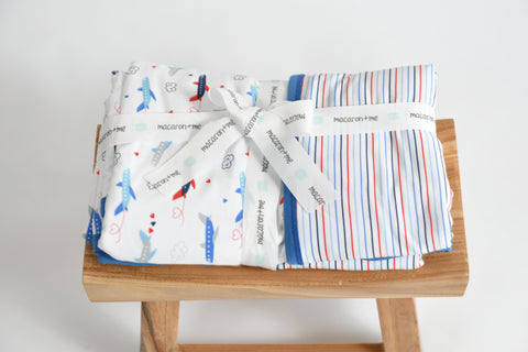 Macaron + Me Stroller Blanket - I Love Planes / I Love Stripes - Let Them Be Little, A Baby & Children's Boutique