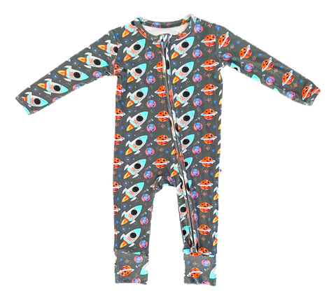 Birdie Bean Zip Romper w/ Convertible Foot - Astro - Let Them Be Little, A Baby & Children's Clothing Boutique