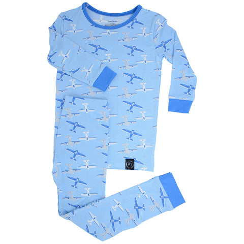 Sweet Bamboo Long Sleeve PJ' Set  -  Airplanes